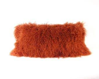 Mongolian Fur Pillow ~ Paprika Fur Pillow ~ Deep Red Genuine Mongolian Lamb ~ Red Orange Mongolian Pillow ~ Orange ~ Mongolian Lumbar Pillow