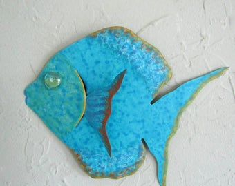 Metal Wall Art Fish Sculpture Recycled Metal Beach House Coastal Bathroom Decor Blue Turquoise 7 x 9