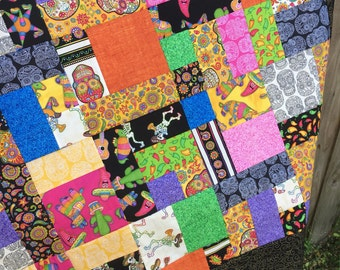 Quilt Top - Fabric Fiesta by RJR Fabrics - Sugar Skulls - Unfinished top- Lap size 53 x 45 in / Black / peppers / white / floral / paisley