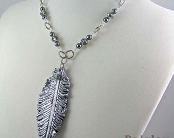Silver feather necklace, polymer clay pendant on beaded antiqued silver chain