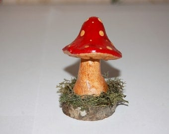Fairy Garden or Terrarium Decoration - Polymer Clay Toadstool on Moss Covered Wooden Base