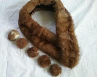 Mink Collar and 5 Mink Studio Buttons