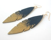 Metallic Dipped Leather Feather Earrings -  Navy Blue Leather and Gold with 14k Gold Fill