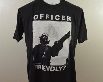 Vintage OFFICER FRIENDLY? t-shirt xl made in usa 1990's