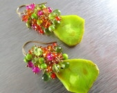 25% Off Green Turquoise Nuggets With Peridot, Quartz and Zircon Wire Wrapped Gold Filled Earrings