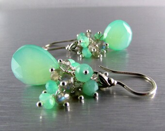 Seafoam Green Chalcedony With Labradorite And Chrysoprase Sterling Silver Wire Wrapped Earrings