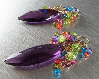 25OFF Colorful Quartz With Amethyst Gold Filled Wire Wrapped Cluster Earrings