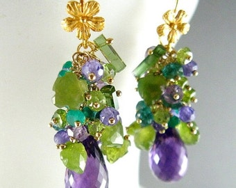 25% Off Purple and Green Gemstone Cluster Gold Filled Earrings - Amethyst, Peridot, Vesuvianite, Tourmaline
