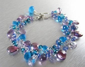 25% Off Turquoise and Lavender Gemstone Bracelet
