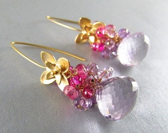 25% Off Pink Amethyst, Pink Topaz and Pink Quartz Gold Filled Earrings