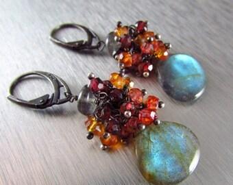 25 % OFF Labradorite With Rhodolite Garnet, Orange and Red Quartz Cluster Oxidized Sterling Earrings