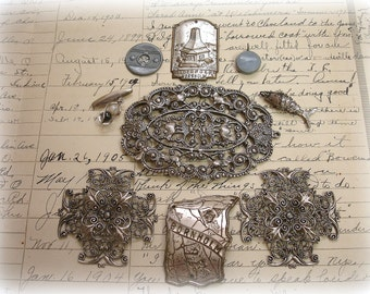 Found Object Vintage and Reproductions Silver Tone Findings Foreign Plaques Charms Buttons Reproduction Filigrees