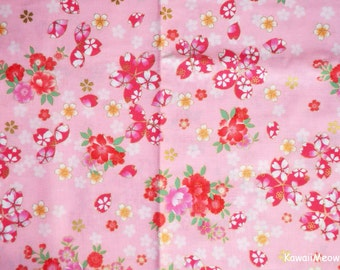 Japanese Kimono Fabric - Sakura Cherry Blossoms on Pink - Half Yard (na161212)