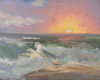 Seascape Painting, Sunset Over Ocean, Small Oil Painting, 6x8 Original Oil Painting
