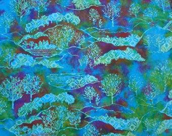Blue Green Hoffman Batik Cotton Yardage