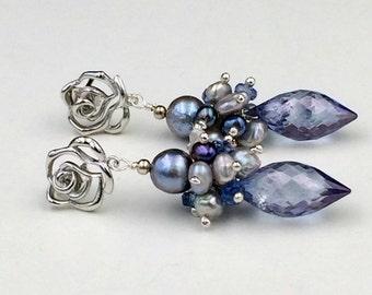 Blue Cluster Earrings Ice Blue Silver Akoya Pearl Wire Wrapped Kyanite Blue Denim Quartz Periwinkle Post Earrings, Wedding Earrings
