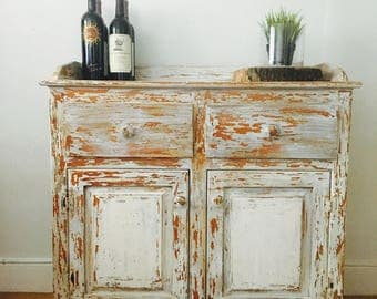 Vintage kitchenbuffet or entryway server sideboard painted and distressed