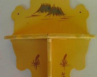 Vintage Asian Wooden Curio Shelf Handmade Yellow