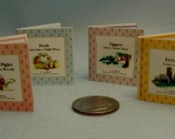Set of Miniature Pooh Bear Books with Colorful Printed Pages