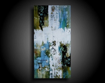 Large Abstract Cross Painting 24 x 12 Modern Religious Painting Texture Painting Encaustic Painting Canvas Wall Art Christian