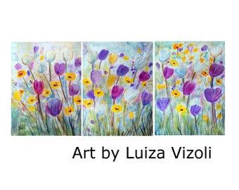 SPRING Flowers Original Painting on Canvas Art by Luiza Vizoli 54x24 , Tulips, Snowball Spring Floral
