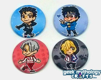 "Yuri on Ice Anime Pixel Art Sprite Pins Button Badges - 1.5"" Set"