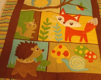 Soft Flannel Baby Toddler Quilt~Handmade Baby Toddler Quilt~Nap Time Quilt~Cheater Quilt~One Panel