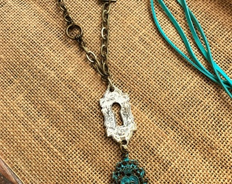 Bohemian Necklace Long Boho Necklace Leather Copper Keyhole Necklace Statemant Necklace