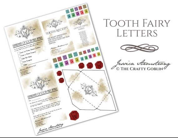 tooth fairy letters tooth letters 13873