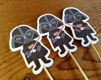 Star Wars Friends Party - Set of 12 Darth Vader Double Sided Cupcake Toppers by The Birthday House