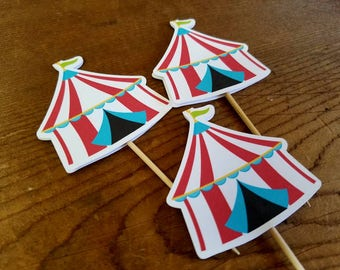 Big Top Circus Party - Set of 12 Circus Tent Cupcake Toppers by The Birthday House