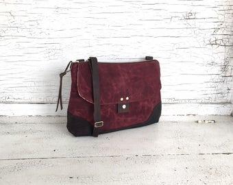 Dark Red Waxed Canvas & Leather Messenger Bag, Medium Cross Body Purse, Shoulder Bag