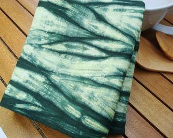 Green Shibori Dish Towel, Shibori Kitchen Towel, Shibori Tea Towel