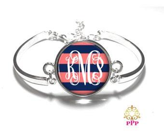 Navy Coral Monogram Bracelet, Monogram Bangle, Monogram Jewelry, Bridesmaid Gift, Personalized Bracelet, Mother's Day Gift - Style 563