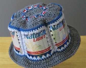 Crocheted Beer Can Hat - Natural Light / Natty Light