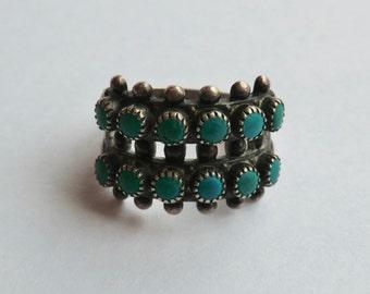 Vintage Older Snake Eye Turquoise Sterling Ring Size 5