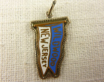 Vintage Sterling Copper and Enamel New Jersey Pendant