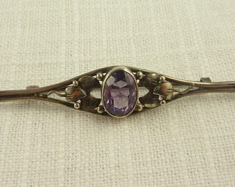 SALE ---- Antique Art Deco Sterling and Amethyst Brooch