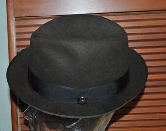 Vintage Royal Stetson Black Felt Fedora Size 7