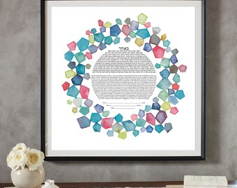 Such A Gem Ketubah || Jewish wedding contract illuminated wedding vows