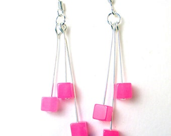 Hot Pink glass cubes triple dangle earrings, hot pink earrings, breast cancer support, survivors earrings, pink earrings, holiday earrings