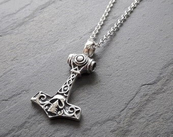 Thor Hammer Necklace // Sterling Silver Thor Hammer Necklace // Norse Symbol // Norse Jewelry // Mjolnir // Viking Jewelry // Gift for Him