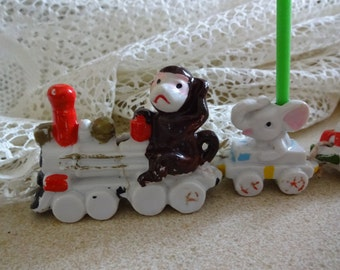 Sale, Free ship,BIRTHDAY CANDLE HOLDER Antique, train, child, birthday candle holder, Unique, Animal Train