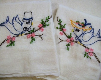 Hand Embroidered Dish Towels, Blue Birds, Blue Birds of Happiness, Vintage Style, Kitchen Dish Towels