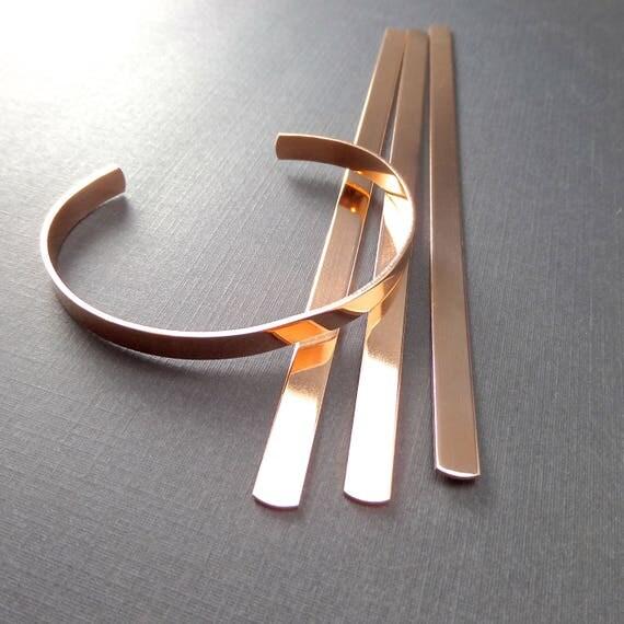 "20 Cuffs 1/4"" x 6"" Copper or Jeweler's Brass Bracelet Blank Cuffs 18 Gauge Tumble Polished or RAW Bracelet Blank Cuffs 20 Cuffs FLAT"