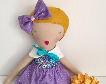 Handmade cloth doll, blond, gold hair, lavender shorts,  blue eyes, gift for girls, pretend play, creative play, lavender