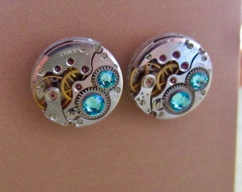 Steampunk Stud Earrings with Mechanical Watch Movement, Steampunk Earrings , Steampunk jewelry