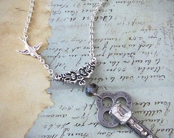 Steampunk necklace  - Vintage Key - antique skeleton key - Repurposed Art