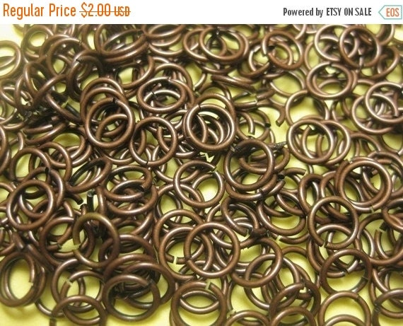 WINTER SALE Supplies - 4mm Antique Reddish Brown Brass Jump Rings - 110 pcs