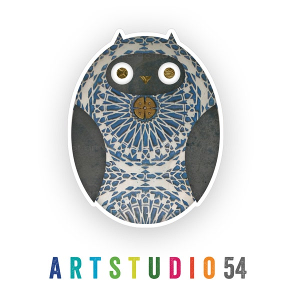 Weatherproof Vinyl Sticker - Owl - Unique, Fun Sticker for Car, Luggage, Laptop - Artstudio54